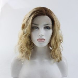 Wavy Bob Ombre Blonde Lace Front Wigs